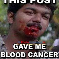 vijay post gave blood cancer